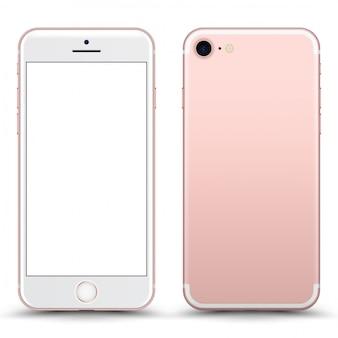 空白の画面が分離されたrosegold電話。