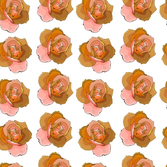 Roses abstract hand drawn sketch pattern background