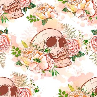 バラと頭蓋骨