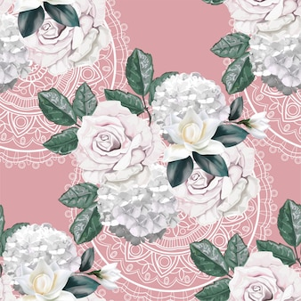 Roses bouquet on lace seamless pattern
