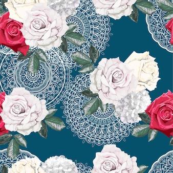 레이스 원활한 패턴에 장미 꽃다발
