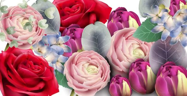 장미 꽃다발 수채화