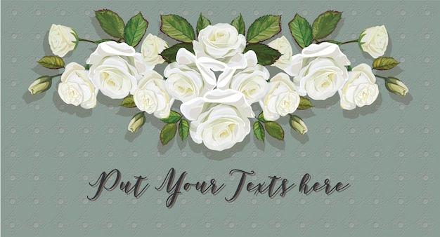 Roses bouquet white color on thai line art green background