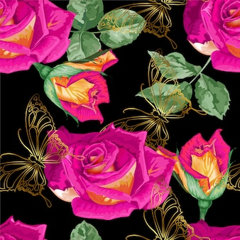 Roses and butterfly gold line seamless pattern
