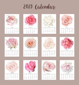 Roses calendar 2019  vector illustration