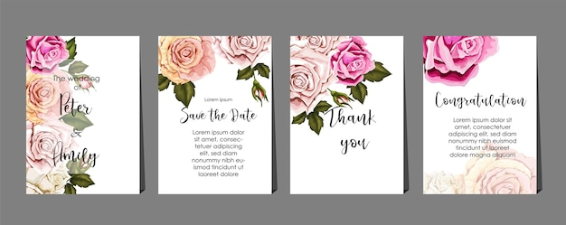 Roses  on cards set