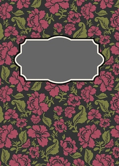 Roses floral background with frame
