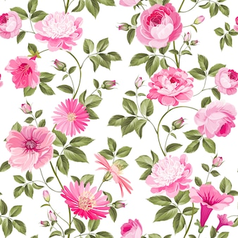 Roses floral seamless wallpaper.