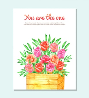 Roses flower in basket with waterolor for greeting card