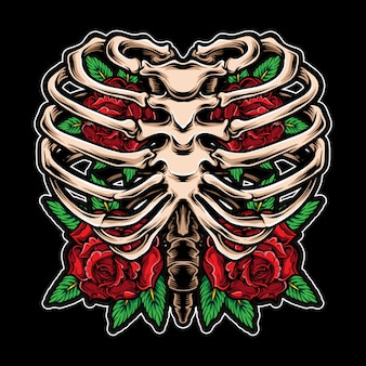 Roses flower inside skeleton