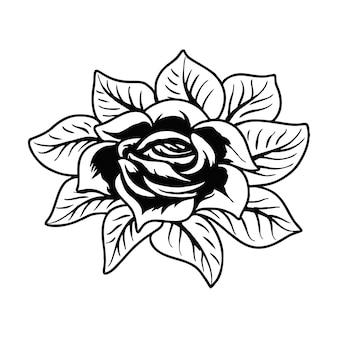 バラの花タトゥーベクトルイラスト