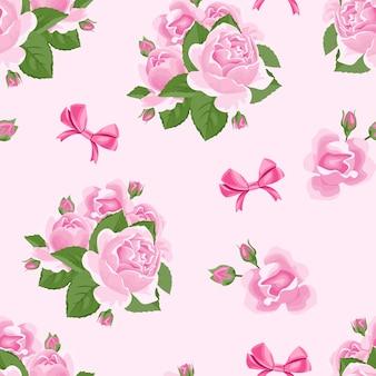 장미 꽃과 리본 원활한 패턴