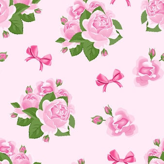 Roses flowers and bows seamless pattern
