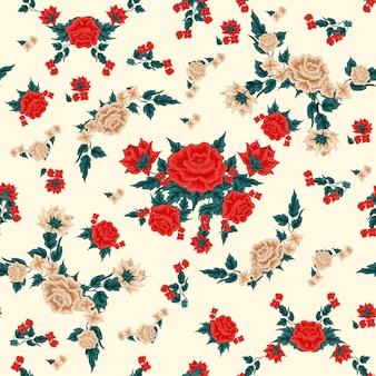 バラの花のシームレスなパターン。ビンテージフローラルスタイル。