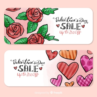 Roses and hearts valentine sales banner