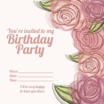 Roses  invitation birthday