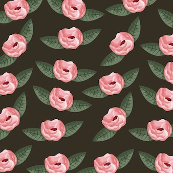 Roses and leaves pattern
