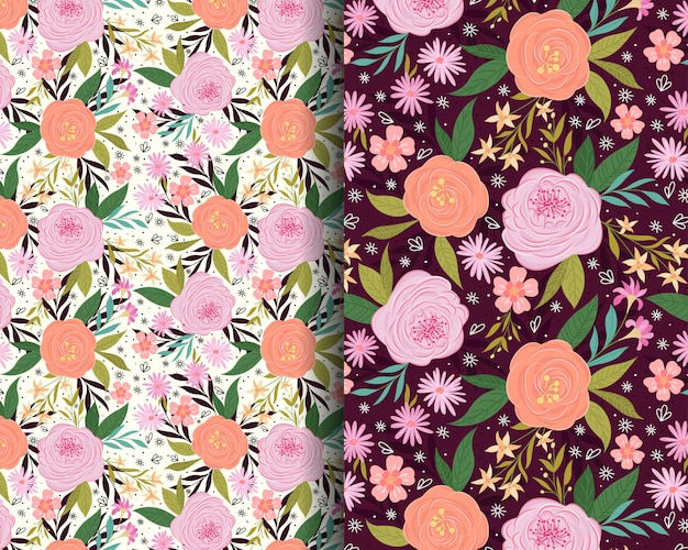 Roses and lilies garden seamless pattern