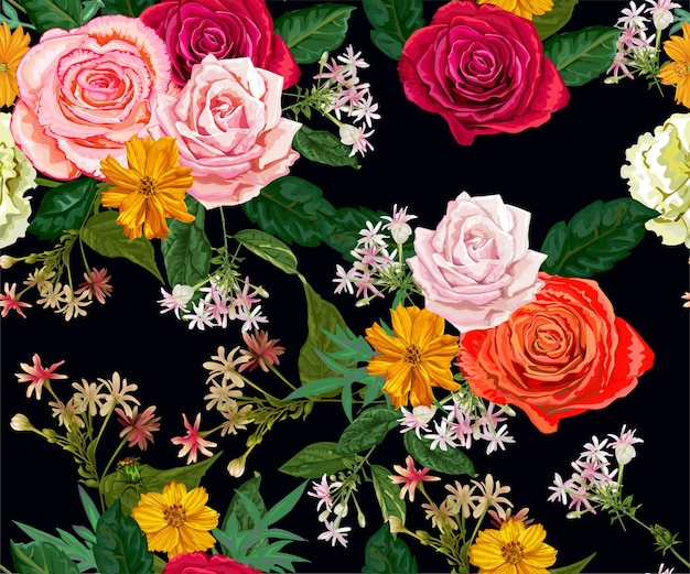 Roses and littles flower seamless pattern