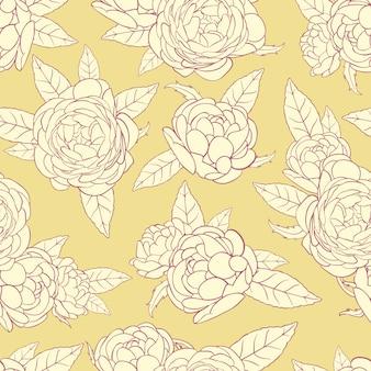 黄色の背景にバラ