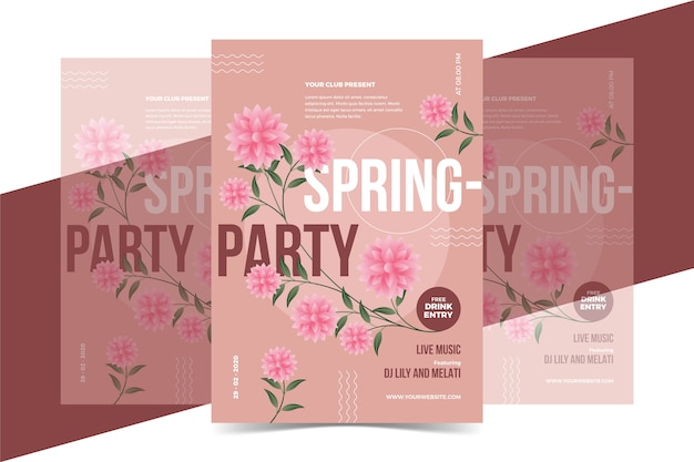 Roses party poster spring season concept