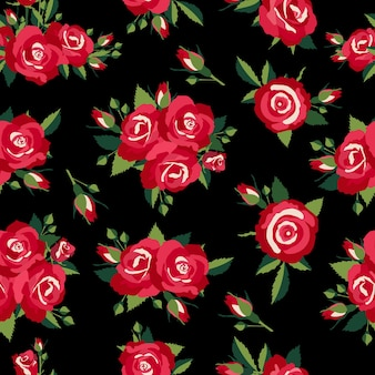 Roses pattern on black background vector illustration