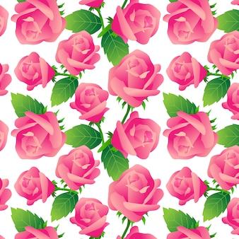 白い背景にバラのパターン