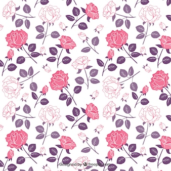 Roses pattern in pink and purple tones Free Vector