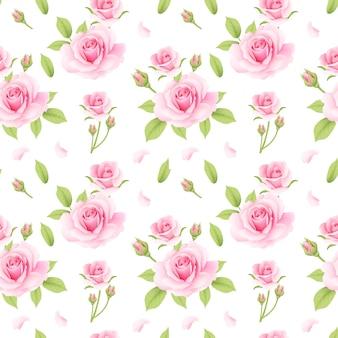 Roses pink pattern seamless