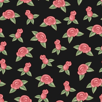 Roses seamless pattern on black background.