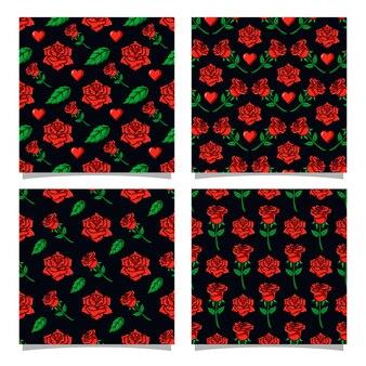 장미 원활한 패턴 디자인 컬렉션