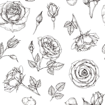 Roses seamless pattern. hand drawn rose floral motif. flower fabric repeat vector vintage