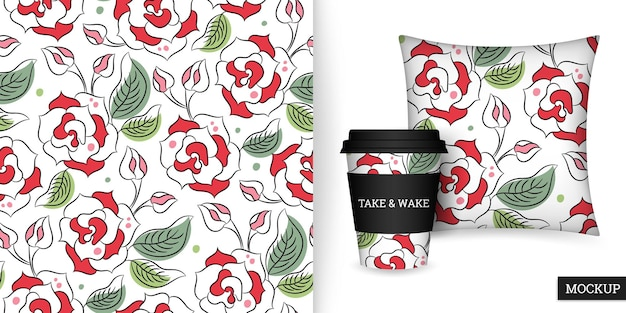 Roses seamless pattern in hand drawn style cup and cushion