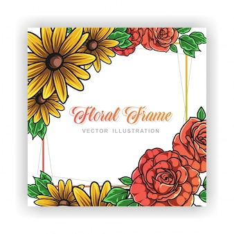 Roses and sunflower floral frame