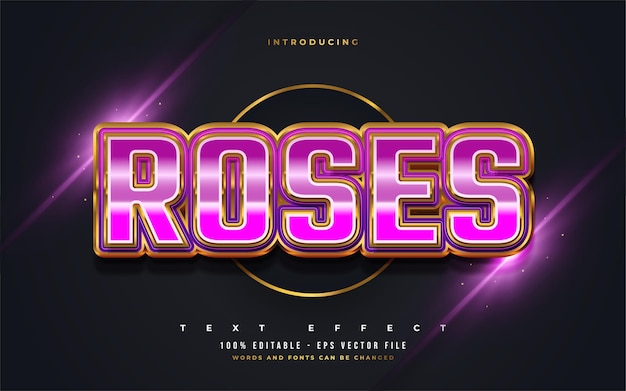 Roses text in pink and gold with retro style and embossed effect. editable text style effect