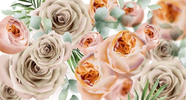 Roses watercolor banner