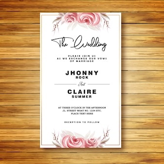 Roses watercolor wedding invitation card