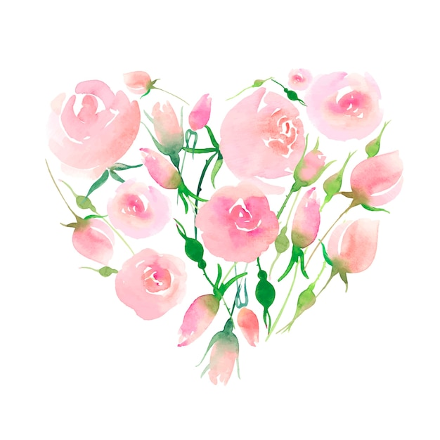 Roses with buds and leaves bouquet like a heart illustration