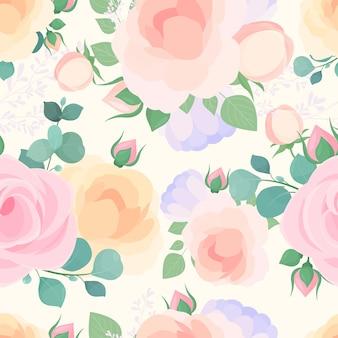 잎과 야생화와 장미 나뭇 가지 장식 배경 꽃 포장지 벽지 디자인