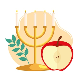 Rosh hashanah celebration, jewish new year, with chandelier and apple