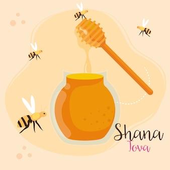 Празднование рош ха-шана, еврейский новый год, с медом и летающими пчелами