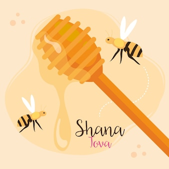 Rosh hashanah 축하, 유태인 새해, 꿀과 꿀벌이 날아 다니는 나무 막대기