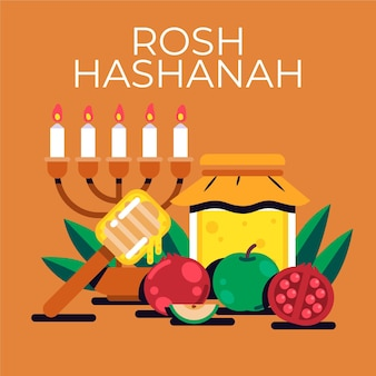 Rosh hashanah design piatto con miele Vettore gratuito