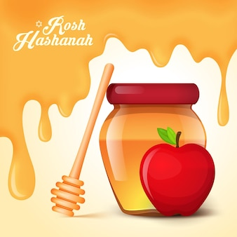 Roshhashanahの休日。リンゴの蜂蜜と背景。