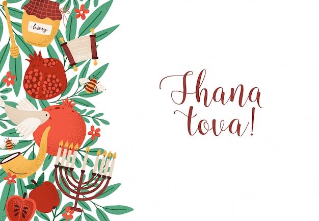 Rosh hashanah horizontal background with shana tova phrase decorated by menorah, shofar horn, honey, apples at left edge.