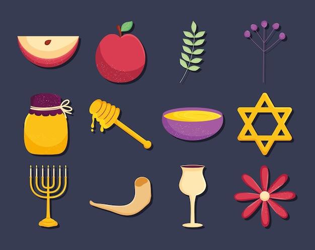 Rosh hashanah icon set design