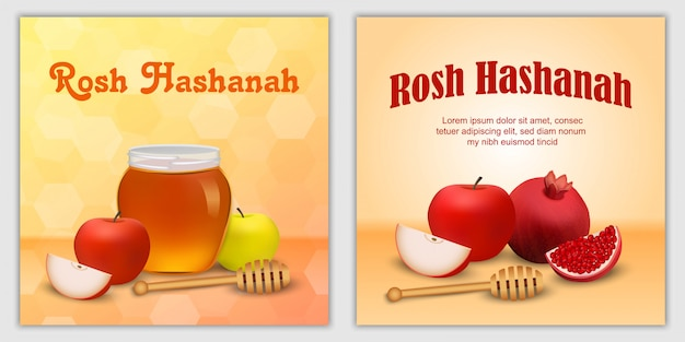 Rosh hashanah jewish holiday apple honey banner concept set