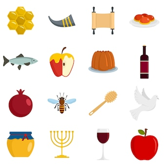 Rosh hashanah jewish holiday icons set