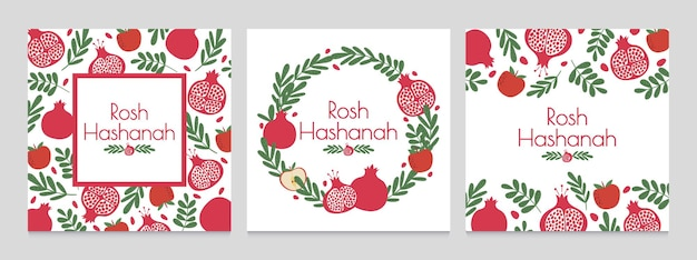 Rosh hashanah. jewish new year greeting cards with pomegranate and apple. judaism shana tova holiday vector backgrounds. wreath with plant leaves and fruit. festive event invitation set