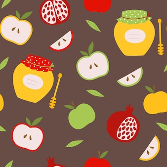 Rosh hashanah jewish new yearseamless pattern with apple pomegranate and honey
